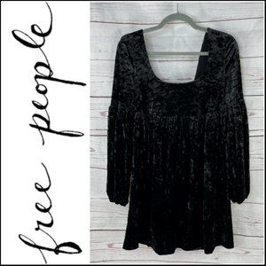 Free People Women's Oh So Easy Black Crushed Velvet Babydoll Dress Size Small